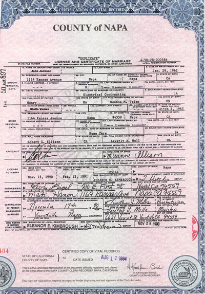 Marriage record example