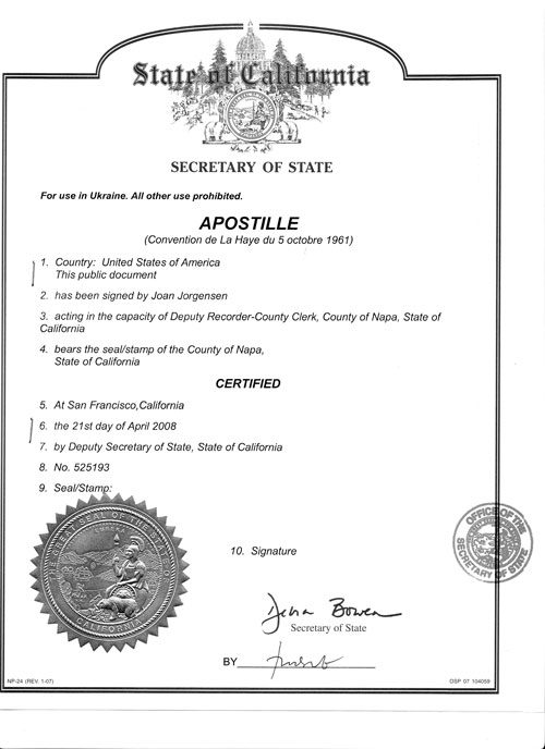 single status affidavit Apostille example